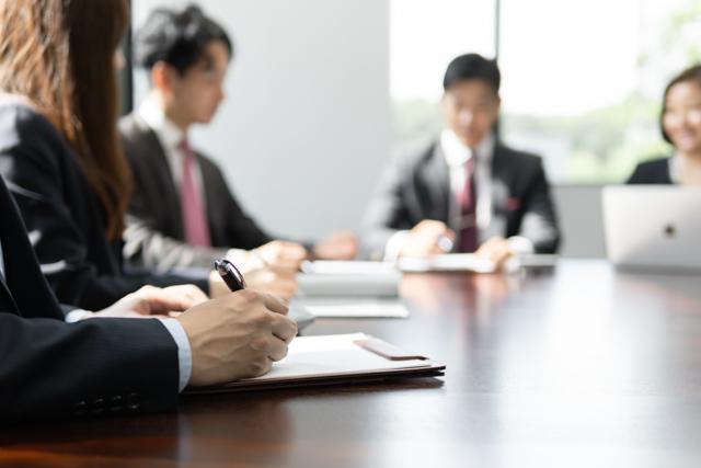 Japanese people having a meeting