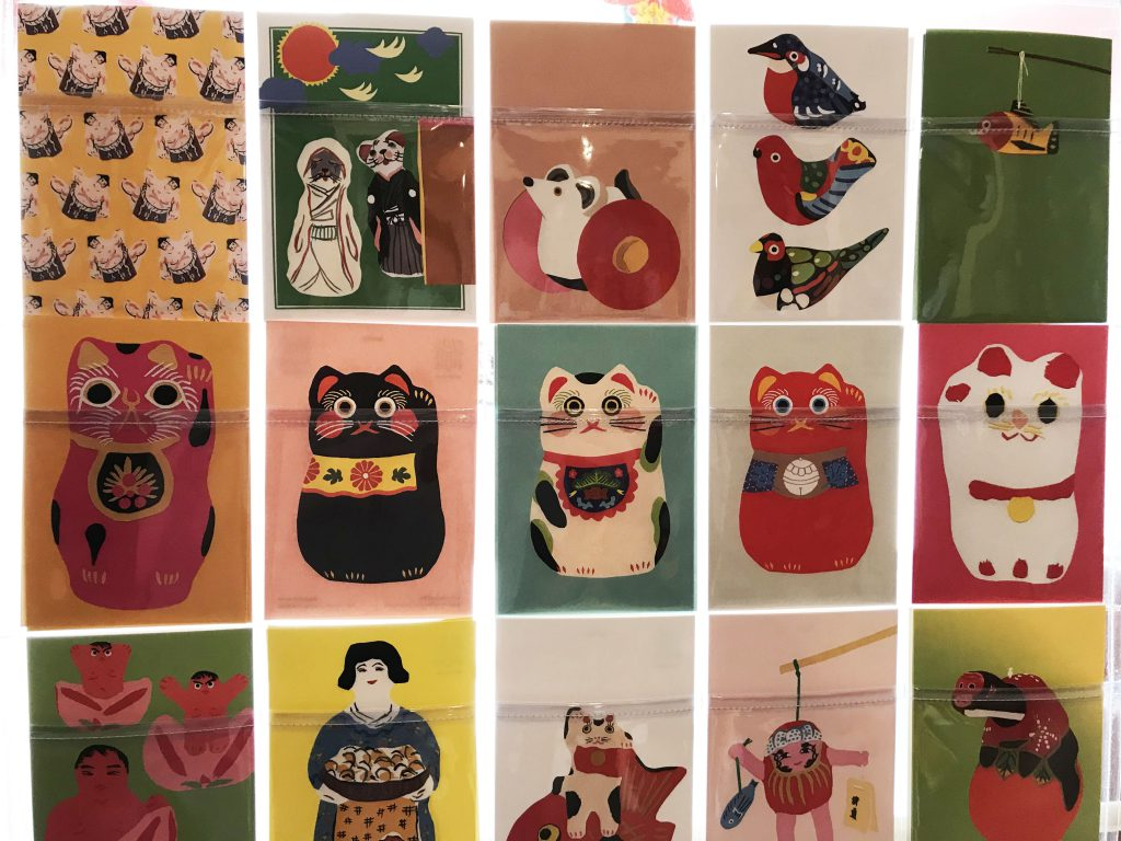 Postcards on which toys are painted
