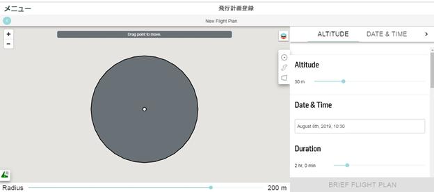Screencapture of the flight plan webpage