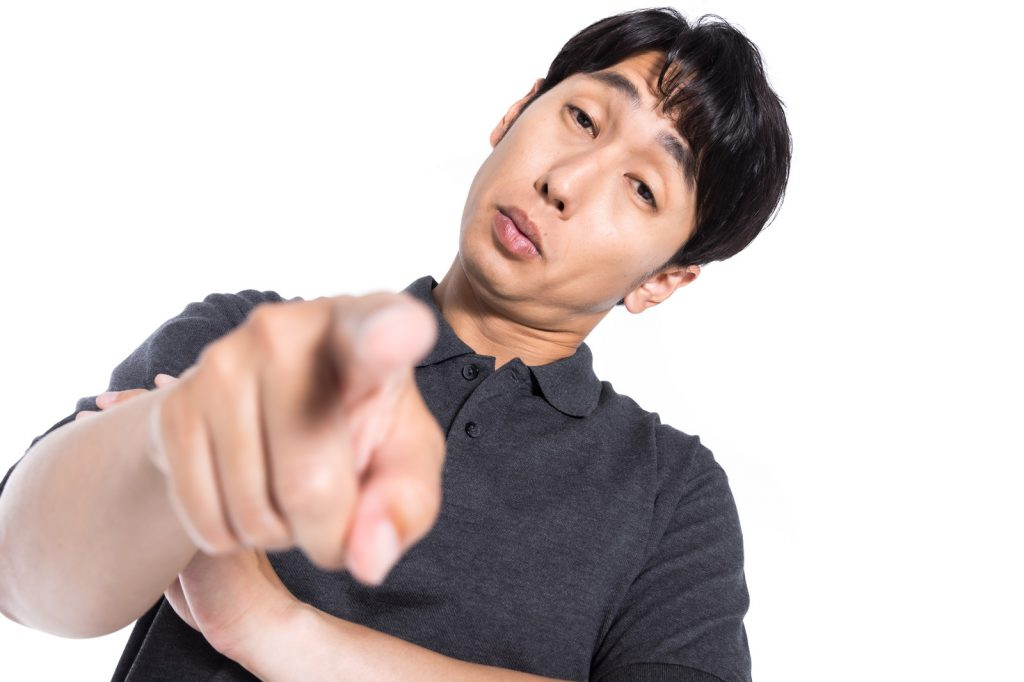 Japanese man pointing the finger at you