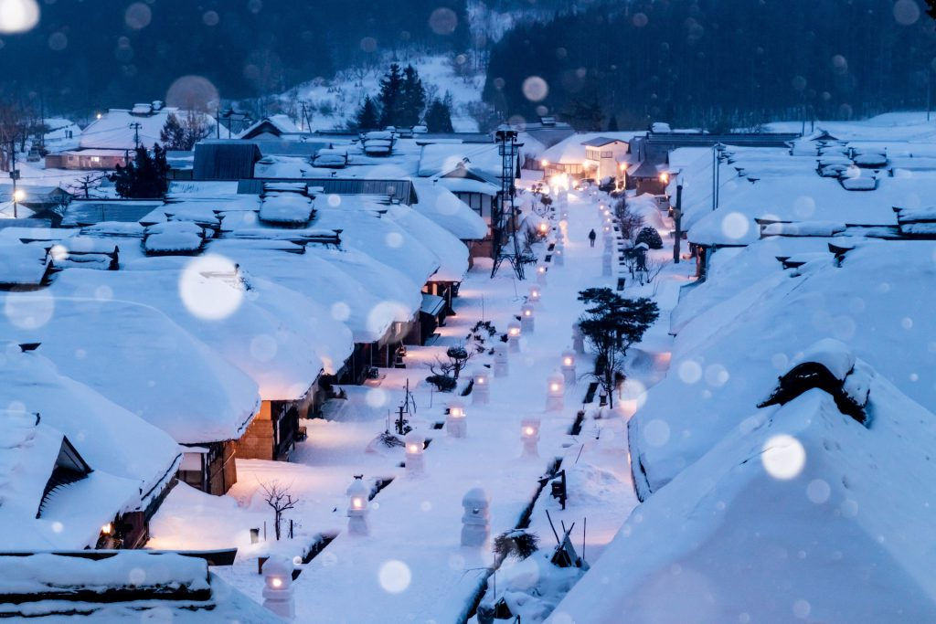 A pittoresque ancient Japanese village under the snow