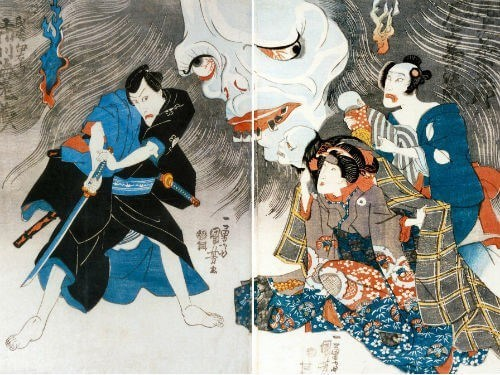A woodblock print depicting the Yotsuya Ghosrt story.  Several characters, including a samurai, are threatened by the ghost of disfigures woman. Her face appears gigantic in the back of the drawing.