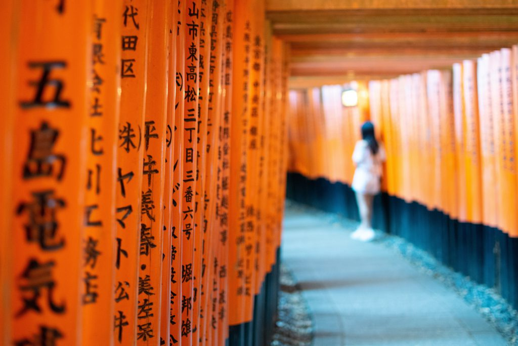 Japanese shrine red gates with kanji written on them