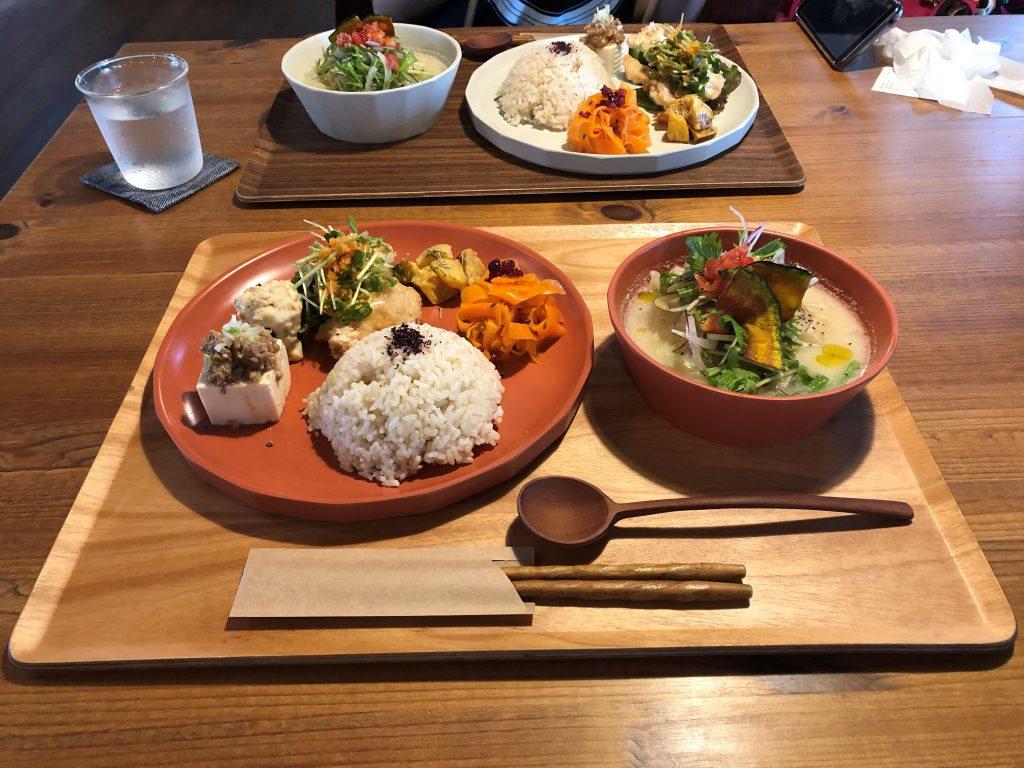 Japanese meal of tofu, rice, vegetables and soup