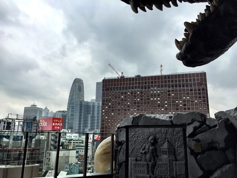 A view of the Shinjuku district as viewed from under the Godzilla statue's head