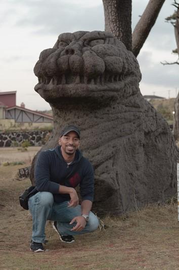 A Godzilla head statue