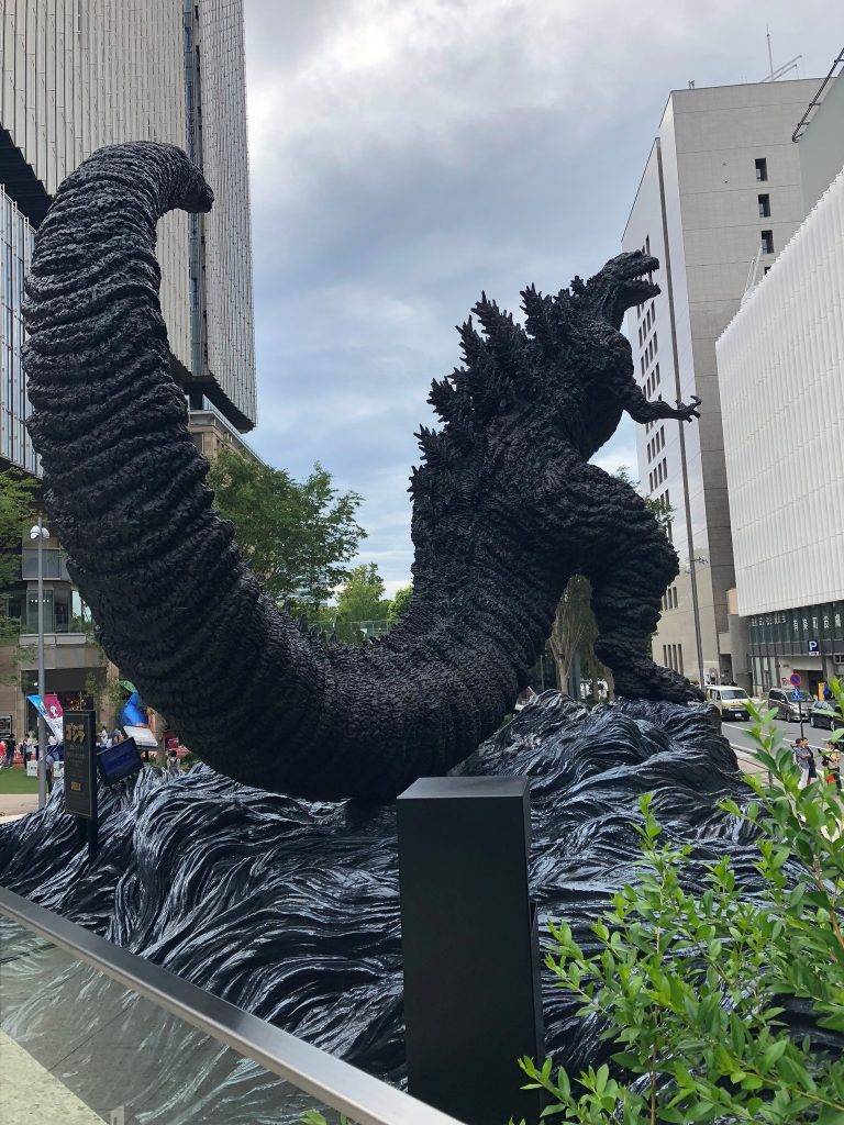 Bigger Godzilla statue with a more modern look and a long tail