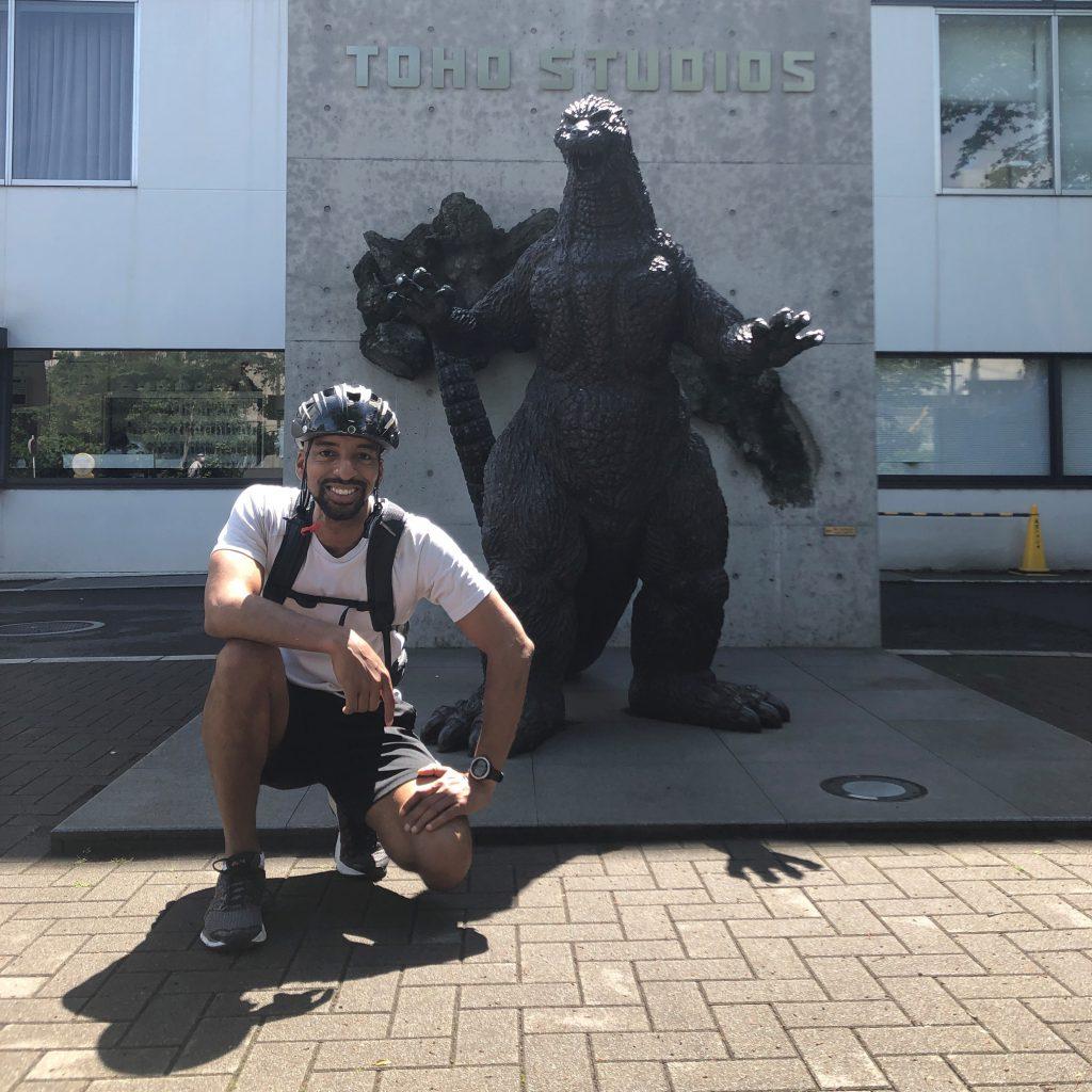 Human-sized Godzilla statue in front of Toho Studios