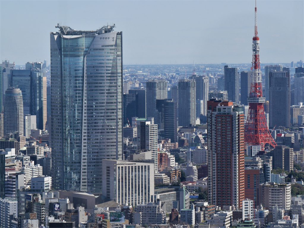Aerial view of Tokyo skyscrapers and Tokyo Tower