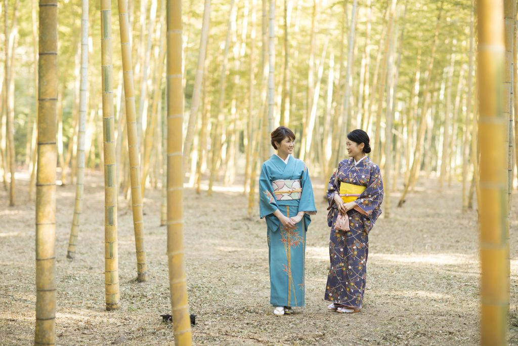 Two women dressed in kimono in a bamboo forest