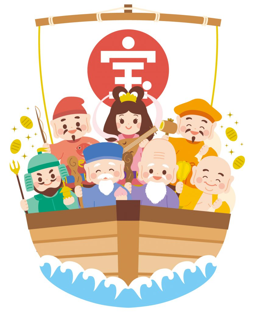 illustration of seven people on a boat with gold coins