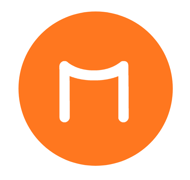 A torii-looking white M in an orange circle