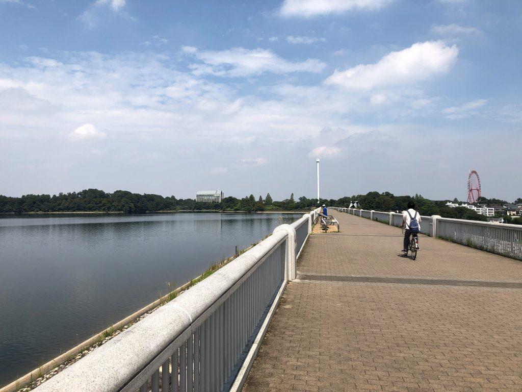 A paved cycling path on a bridge on Tamako lake.
