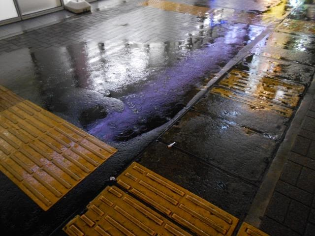 Braille blocks that look slippery under the rain. There is a space between two of them.